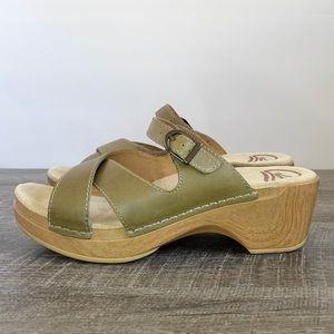 DANSKO Leather Criss Cross Buckled Clog Sandal